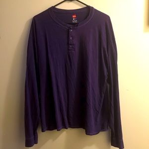 Hanes long sleeve partial button up long sleeve